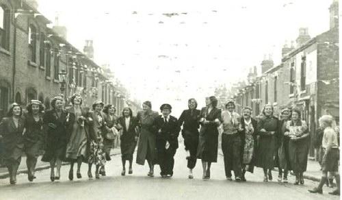 Coronation Street Party 1953 LtoR  Elsie Wheeler ( nee Whitehouse ) Beryl Whitehouse, Betty ?, Laura Bayley, Marge Smith (nee Tuffley), ?, Gladys Whitehead, Alice Bridge ( nee Tuffley), Hettie James, Joan Wilson, Olive Doe ( nee Fallon), Lily Doe, Emily Tuffley ( Nee Doe), Joan Field, Fanny Doe, Lil Robinson;  6 of these ladies are my (Lin's)family members including Olive, my Mum